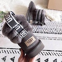 UGG Fashion Women Men Cute Warmer Wool Snow Boots Grey
