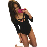 5%N8026ZS Bodysuit Women Shorts Playsuit Bodycon Jumpsuit Rompers Macacao Feminino Sexy Cross Straps Long Sleeve Overalls