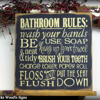 """Wooden Sign / Bathroom Rules 12"""" x 12"""" Sign / Wash your hands / Bathroom wall hanging"""