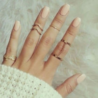 5pcs Gold Stacking Knuckle Rings Midi Finger Ring Set