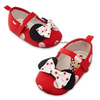 Licensed cool Minnie Mouse RED Polka Dot with Bow COSTUME BABY Dress Up SHOES Disney Store NEW