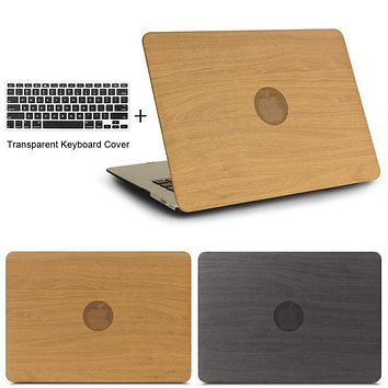 High Quality WOOD GRAIN PU Leather Laptop Cases for apple MacBook Air 11 13 for MAC Pro Retina 12 13.3 15 inch + keyboard cover