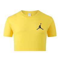 Jordan Summer New Fashion Bust Side People Print Leisure Women Men Top T-Shirt Yellow