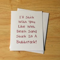 Naughty Card, Love Card, Wet Sand Buttcrack, Funny Card, Boyfriend Gift, Card For Boyfriend, Girlfriend Gift, Birthday Card, Adult Humor
