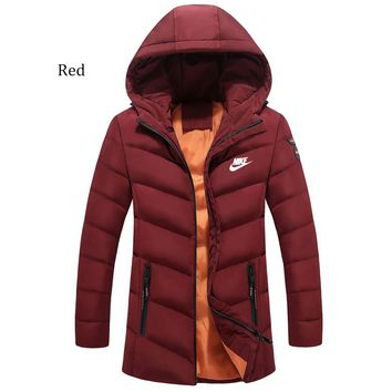 NIKE winter new trend thickening down cotton jacket casual warm cardigan Red