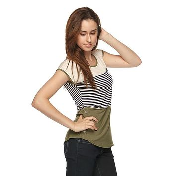Bree Stripe Short Sleeve Top - Olive