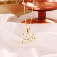 Stainless Steel Pig Shaped Pendant Necklaces