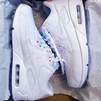 Bunchsun NIKE AIR MAX 90  Fashion Women Men Running Sports Sneakers Shoes All White +Laser