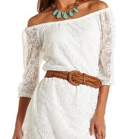 BELTED LACE SHIFT DRESS
