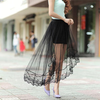 2016 New Summer Women Sexy Lace Skirts  Womens Fashion Long Section Skirt Jupe Tulle Black and White Short Skirt