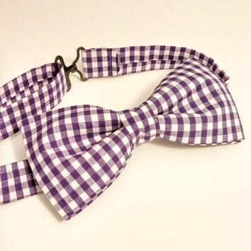 Purple Bow Tie • Gingham Bow Tie • Purple Gingham Tie • Geekery Bow Tie • Checkered Bow Tie • Spring Bow Tie • Pre-Tied Bow Tie