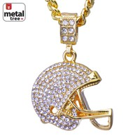 """Jewelry Kay style Men's 14K Gold Football Helmet Pendant 24"""" Cuban Link Chain Necklace CPB 1049 G"""