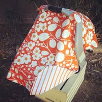 Infant Car Seat Cover Orange Cream Flowers