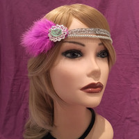 20s Flapper 1920's style bright pink silver art deco 20's feather headband head piece rhinestone stone gatsby adjustable headpiece (669)