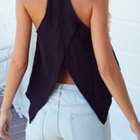 Black Spaghetti Strap Cross Tank Top