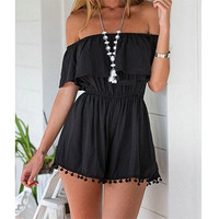 Summer Style Women Romper Off Shoulder Elastic Waist Ruffles Playsuit Jumpsuit