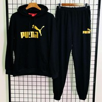 PUMA autumn and winter new trend men and women models outdoor sports and leisure two-piece black
