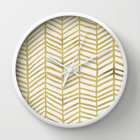 Gold Herringbone Wall Clock by Cat Coquillette