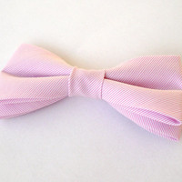 Mens bow tie freestyle groom wedding hipster classic retro necktie chic handmade gift for him by Bartek Design - light soft pink striped