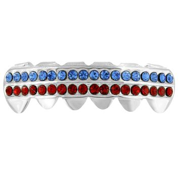 Bottom Mouth Grillz Teeth White Gold Plated Blue Red 2 Row Lab Diamonds