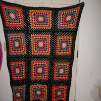 Vintage 1970's Afghan colorful and beautiful