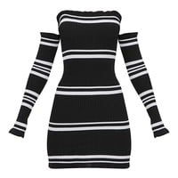 Black Lurex Stripe Ruffle Bardot Knit Dress
