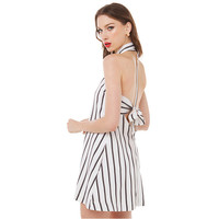 Women's No Sleeves Black and White Stripes One-Piece Backless Dress with Cute Bowtie