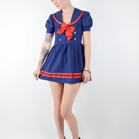 VTG Navy Blue and Red Rare Sailor Moon ANIME Dress w Gold Buttons