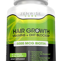 Hair Growth Vitamins Supplement - 5000mcg of Biotin & DHT Blocker for Hair Loss and Baldness - Contains Vitamins That Stimulate Hair Growth & Shine for Men and Women - 60 Vegetarian Pills