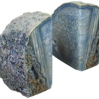 JIC Gem Polished Dyed Blue Agate Bookend(s) - 1 Pair - 2 to 3 Lbs