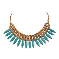 Short Necklace Golden Color Small Beads Jewelry Turquoise Drop Shaped Pendant Necklace