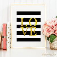 Faux gold foil LOVE, printable wall art decor, black and white stripes, art for office, art for home (Instant digital download - JPG)