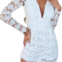 Lace Plunging Neck Long Sleeve White Rompers