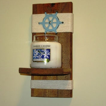 Nautical Wall Sconce, Candle Holder, Candle Sconce, Rustic wall sconce with nautical twine