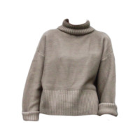 Brown Roll Neck Wool Sweater