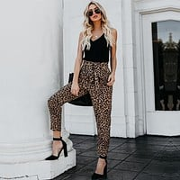 Women Casual Fashion Leopard Print Strappy Leisure Pants Trousers