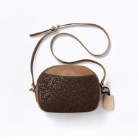 Cross Body Bags Brown Embossed Leather Exquisite Messenger Bag