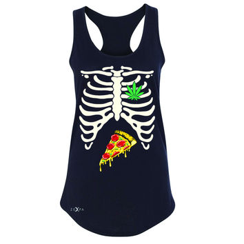 Zexpa Apparel™ Rib Cage Weed Pizza Muchies Women's Racerback Funny Gift Friend Sleeveless