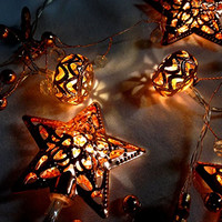 Lighted LED Copper Stars and Ornament String Light Set - 63-in