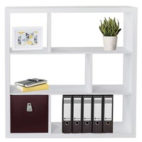 Fortuna - Asymmetric Bookcase, Bookshelf/ Cube Bookcase, 6 Fields, white