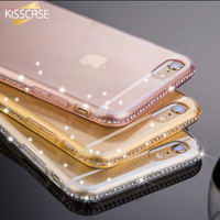 KISSCASE Full Bling Diamond Frame+Slim Clear Back Case Cover For iPhone 7 6S For iPhone 7 Plus 6S 6 Plus Phone Cover Accessories