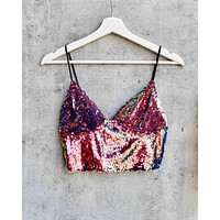 Motel Dyrilla Cropped Bralette in Dragon Fruit Sequin