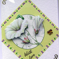White Flowers Hand-Crafted 3D Decoupage Card - With Love (1592)
