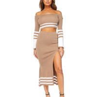 Lola Stripe Skirt Set - Mocha