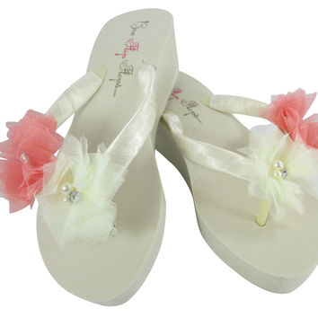 Coral & Ivory Flower Wedge Flip Flops- Bridal & Bridesmaid Sandals for the Wedding