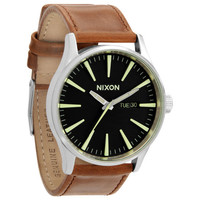 Nixon The Sentry Leather Watch Black/Saddle One Size For Men 22534449001