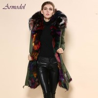 Good Quality Mrs Brand Fur Jacket Long Real Fox Fur Jacket Women Parka Winter Warming Thick Fur Natural Fur Parka