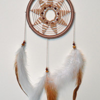 Beige Elegant Dreamcatcher Mandala with Sandstone and plastic beads, Wall Hanging, Wall Decor