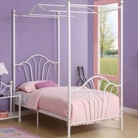 Metal Canopy For Twin Size Bed in White Finish