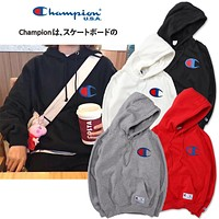 Champion Logo Embroidered Hooded Sweater M--XXL